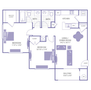 """Bedroom 11'4"""" x 12'6"""" with walk-in closet. Bedroom 10'10"""" x 11'4"""" with closet. Living/Dining room 14'2"""" x 16'11"""". 1 1/2 bath. 1 closet. Kitchen. Balcony 10'6"""" x 4'8"""". Washer and dryer in unit."""