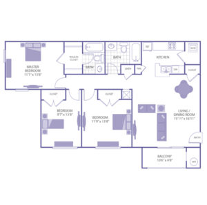 """Master bedroom 11'1"""" x 13'8"""" with walk-in closet. Bedroom 9'7"""" x 13'8"""" with closet. Bedroom 11'9"""" x 13'8"""" with closet. Living/Dining room 15'11"""" x 16'11"""". 2 bath. 1 linen closet. 1 closet. Kitchen. Balcony 10'6"""" x 4'8"""". Washer and dryer in unit."""